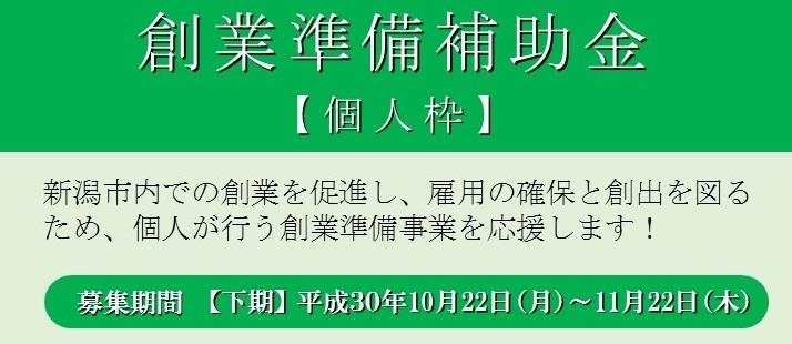 【2次募集】 H30創業準備補助金(個人枠)【下期】